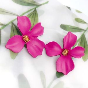 Pink Matte 4 petal painted Flower stud Earrings
